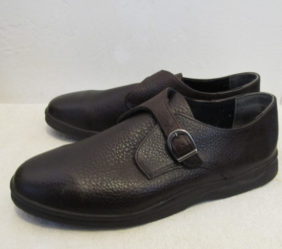 Men's Preppy Vintage 90's,Dark Brown BUCKLE Shoes… - image 1