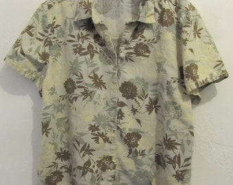 A Women's Vintage 90's,Groovy LINEN-Blend,Beige FLORAL Hawaiian Type Blouse.L(14)