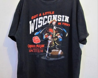 A Vintage 90's,Funny Faded Black CAPTAIN MORGAN Wi T-Shirt.Xl