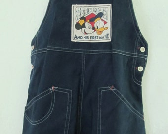 Boy's Vintage 80's ADORABLE Navy Blue CAPTAIN MICKEY Shortalls By Disney.3T