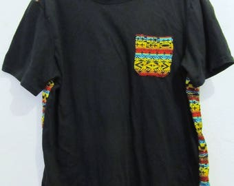 Marked Down 25%@@A Neat Vintage 90's,Short Sleeve Black & TRIBAL Print Top By GIANT.M/L