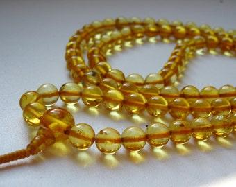 SUN: 108 baltic amber mala for meditation for meditation (size Ø7.5 colour 3), buddhist meditation, guru bead, 108 bead mala