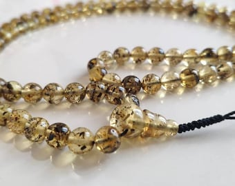Transparent LOVELY DOTS - 108 beads baltic amber mala for meditation (size Ø7 colour 2 with spots)
