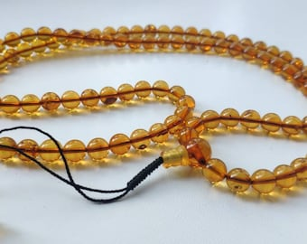 108 bead amber mala for meditation (size Ø7.5), buddhist meditation, guru bead, 108 bead mala