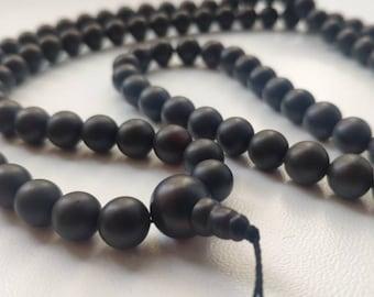 Deep dark baltic amber 108 bead meditation mala (size Ø8.5), buddhist meditation, guru bead, frost effect