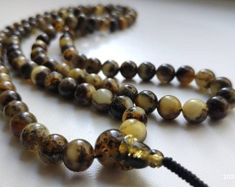 No.43 108 bead amber mala for meditation (size Ø8), buddhist meditation, guru bead, 108 bead mala