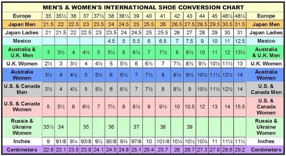 Size Conversion Charts Womens Mens Clothing Etsy
