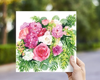 A Bouquet of Roses and Dahlias // Watercolor Print