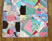 Vintage Crazy Quilt Table Runner - Small Vintage Quilt - Vintage Handmade Quilt - Vintage Farmhouse Quilt - Quilted Table Runner