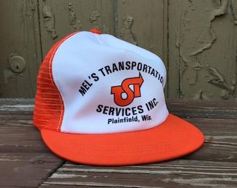 1dca33b509f Hipster Trucker Hat - Orange Trucker Hat - Ironic Hat - Hipster Baseball Cap  - Orange and White - Mel s Transportation - Plainfield