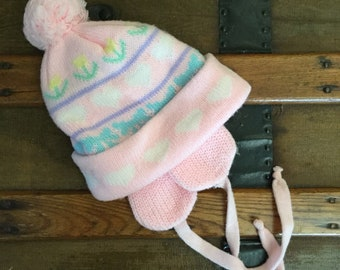 Toddler Girls KNIT Sherpa Lined Winter Hat EAR FLAPS Pink Pastel Hearts