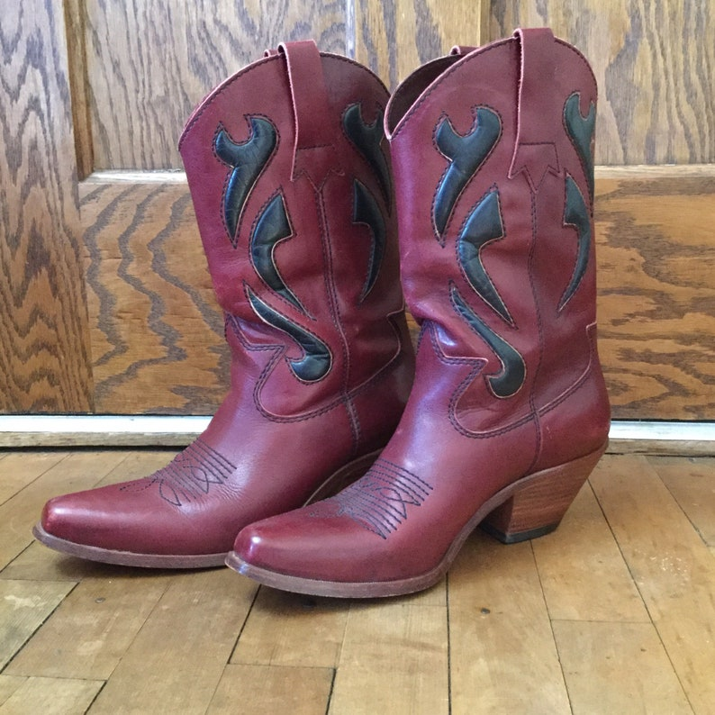 b753cc5ef0f Women's Vintage Western Boots - Burgundy Leather Boots - Women's Size 10  Cowboy Boots - Cowgirl Boots - Size 10 Western Boots - Maroon