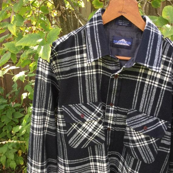 Vintage Flannel Shirt - Mens Medium Backpacker Fla