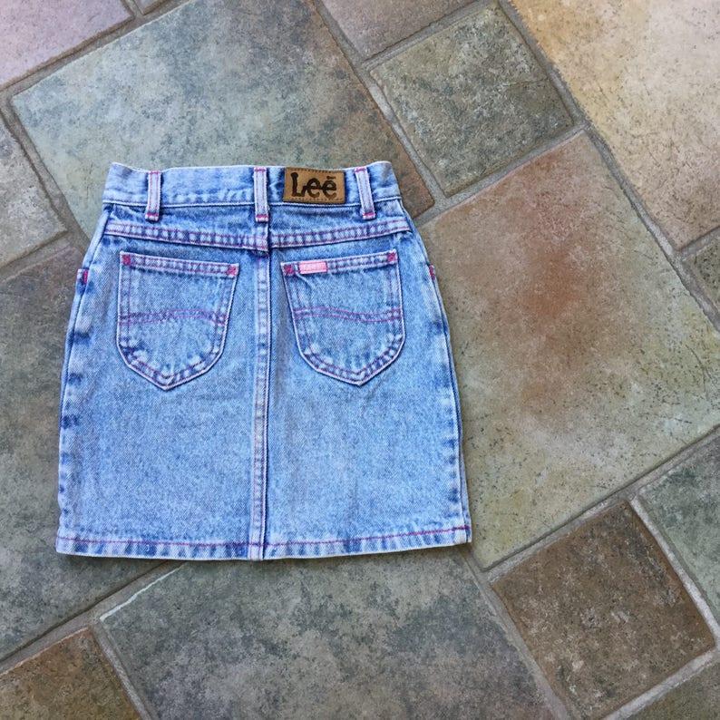 f8dc784f1d Chicas Lee Jeans falda falda de mezclilla con hilo rosa