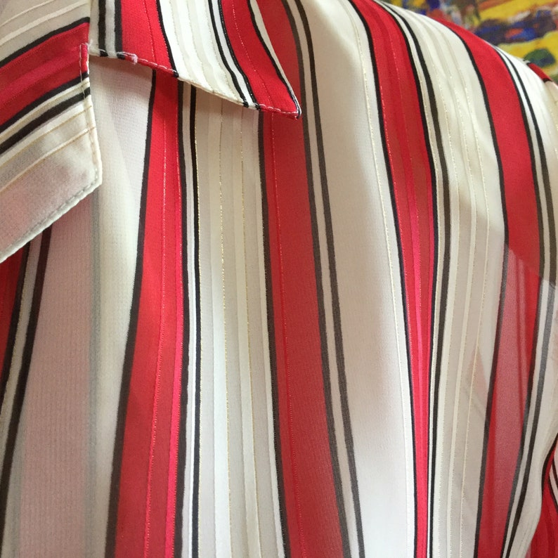 Vintage Sheer Blouse Vintage Silky Blouse Red and White Striped Blouse Metallic Shimmer Blouse Vintage Secretary Blouse