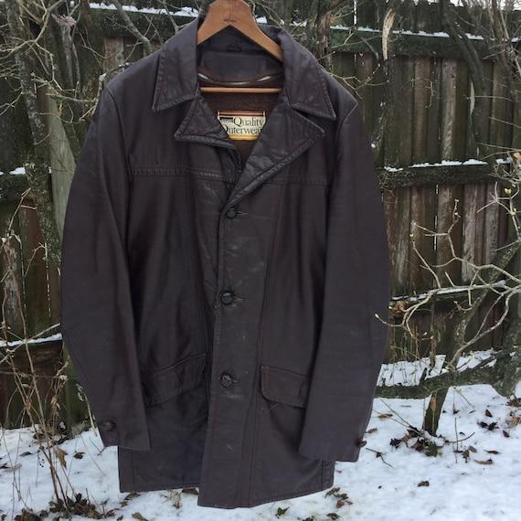 Men's Vintage Leather Coat - Vintage Montgomery Wa