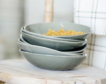 Ceramic Pasta Bowls, Ceramic Bowl Set Of 4, Ceramic Gray Bowl, Soup Bowl, Serving Bowl, Salad Plate, Pottery Bowls, Housewarming Gift