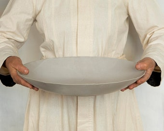 Large Ceramic serving bowl, Modern White Salad bowl, Pottery Fruit Bowl,  Stoneware Bowl