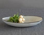 Large Oval Ceramic Serving Bowl, Modern Salad Bowl, Unique Fruit Bowl, Black Or White Bowl, Gift For Mom