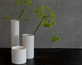 Porcelain Vase Set and Candle Holder, 2 White Vases Set and Candle Molded, Small Tube Single Flower Ceramic Vase, Pottery Wedding Gift