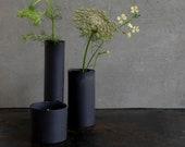 Set of Single Flower Bud Vases & Candle-holder, Black Scandinavian Ceramics, Contemporary Home Decor, Pottery Dining Table Centerpiece
