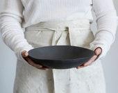 Black Porcelain Bowl, Serving Bowl, Pottery Bowl ,Pottery Salad Bowl, Rustic Bowl, Handmade Black Ceramic Bowl