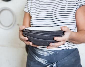 CERAMIC BOWL, Soup Bowl, Ceramic Salad bowl, Ceramic Set Bowl ,rustic bowl, Modern Pottery Bowl, White And Black Bowl, Pottery Gift