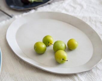 White Serving Platter, Ceramic Platter, Serving Dish, Ceramic Plate, Stoneware platter, Housewarming Gift, Pottery Gift.