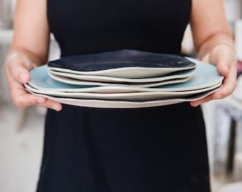 Ceramic Plate, Serving Plate,  White Ceramic Plate,Ceramic Platter Decorative Plate, Ceramic Serving Plate, Rustic Plate, Housewarming Gift.