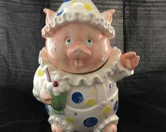 Clown Pig Cookie Jar by Cara Marks for Sigma The Tastesetter White w/ Polka Dots