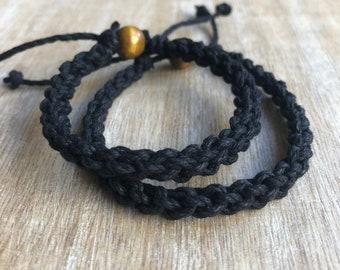Destin, His and her Bracelet, Black Couple Hemp Bracelets, Love Couple Bracelet, Matching Bracelets HC001415