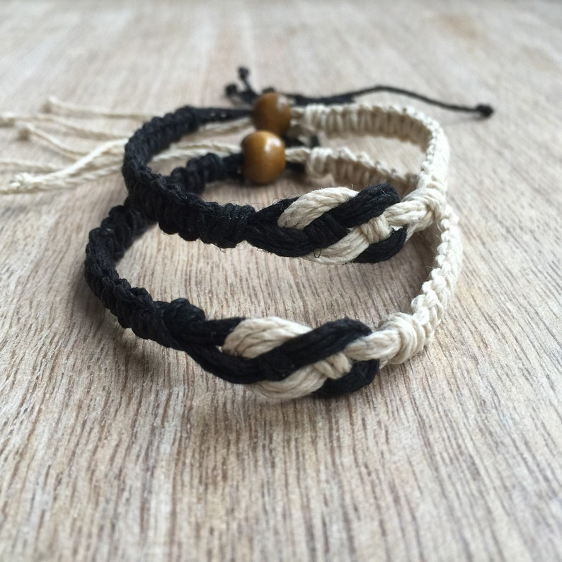 Bayside His and her Bracelet Black and Natural Couple Hemp image 0