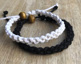 Destin, His and her Bracelet, Black and White, Couple Hemp Bracelet, Love Couple Bracelet, Matching Bracelets,
