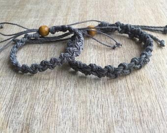 Shell Key Set, His and her Bracelet, Gray Couple Hemp Bracelet, His and Hers Gifts, Love Couple Bracelet, Gray Matching Bracelets HC001189