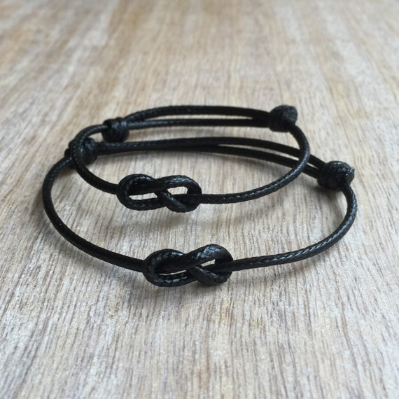 Black Waxed Cord Bracelets Lovers Key Waterproof His and her Bracelets Infinity Couple Bracelets Set of 2 WC001354