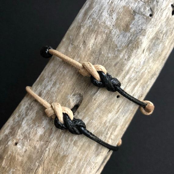 Eternité Bracelets Couples noir et naturel Bracelets cordon   Etsy d460e122682