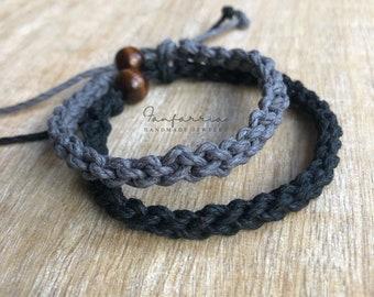 Destin, His and Hers Bracelets, Black and Gray, Couple Hemp Bracelet, Love Couple Bracelet, Matching Bracelets HC001537