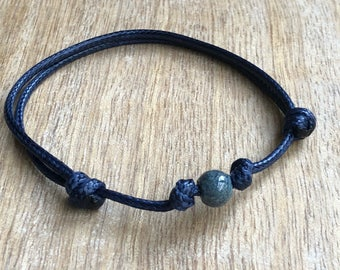 Beaded Anklet, Waxed Cord Anklet, Blue Anklet, Adjustable Anklet, Waterproof WA001534