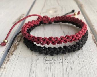 Destin II, His and Hers Bracelets, Black and Dark Red, Couples Bracelet, Waterproof NC001738