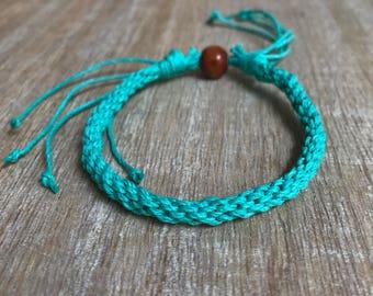 Turquoise Bracelet, Beach bracelet, Kumihimo Hemp Bracelet, Braided Bracelet, Friendship Bracelet, Surfer Bracelet  HA001019