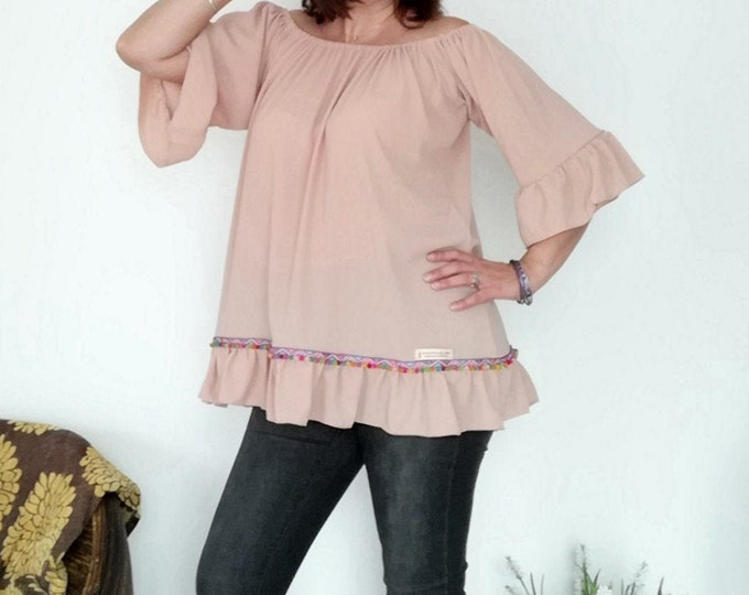 Pink Tunic-Model amber, Womens clothing, Blouses, Summer Clothes, Plus Size