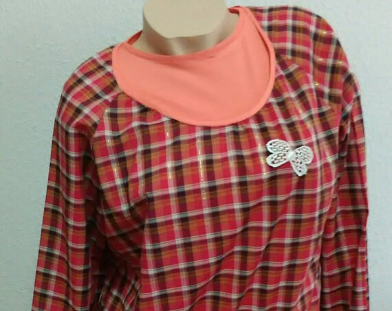 Women's clothing, Tunic, Blouses, gifts for Her, Coral Ensemble