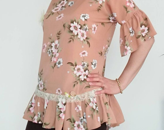 Floral tunic, frilly tunic, Women's clothing, Tops & Tees, Handmade clothes, lady's blouse, Tunics