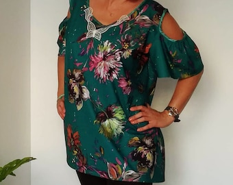 Floral tunic, womens clothing, plus size, blouses
