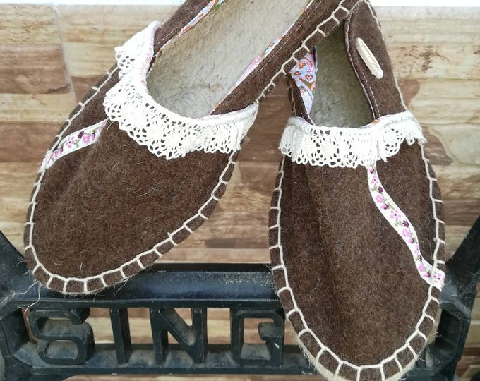 Fabric sneakers, espadrilles, Moccasins, Women's shoes, Espadrilles, wool shoes, Natural, slippers in Burel, Handmade shoes, shoes, Vegan