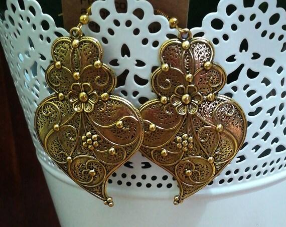 Long earrings, heart of Viana earrings, crafts, earrings, bijouterie, hook earrings, lady earrings, Handmade, Bronze, pendants
