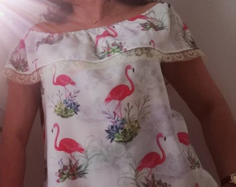 Tunic Flamingos, Blouses, Tops & Tees, tunic, Women's clothing, summer tunics