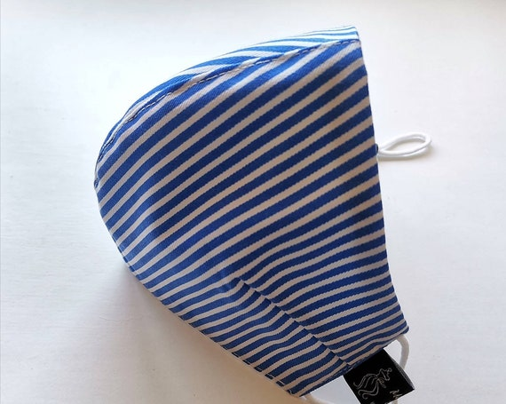 Blue Stripes Model Mask, Washable mask, Reusable face mask, Cotton mask, Travel mask, Anti Dust mask, Stoffmaske, Fabric Facemask, Masks