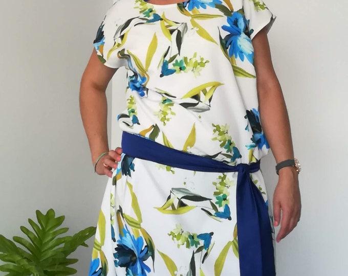Dress, low waist dress, Womens clothing, Floral blue dress, Wedding dress, party dress, Pluz Size dress, Women dress