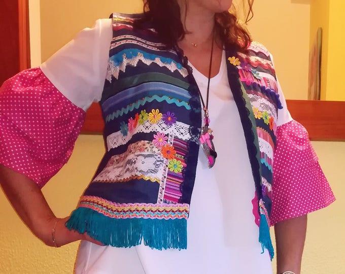 Vest, vest in jeans with applications, Bohemian style, Denim, Women's clothing, Handmade vest, vest of Lady, Boho inspiration, clothes